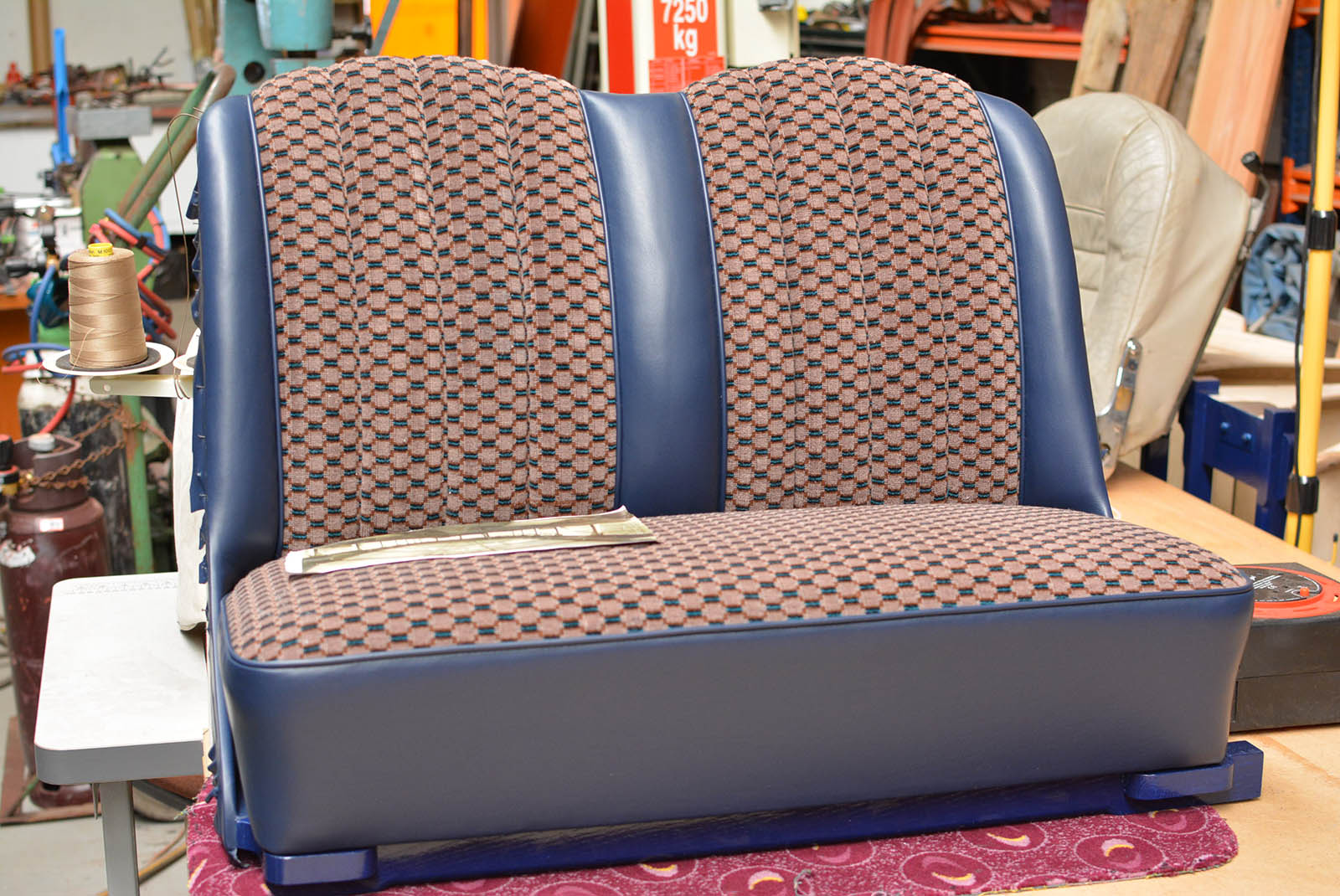 Newly made & trimmed seat using original moquette