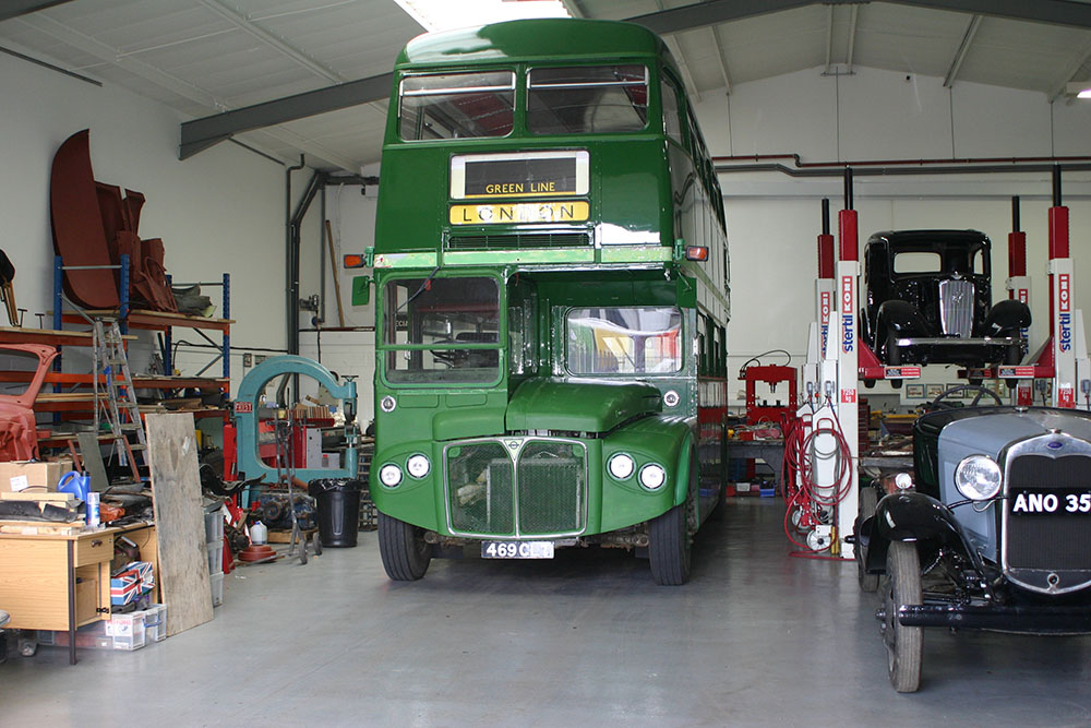 Bus10 - AEC Routemaster bus inside our workshop following an engine rebuild