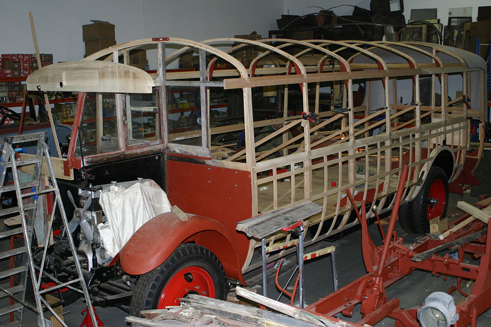 Full11 - 1929 Leyland Lion roof hoops in place and rear dome