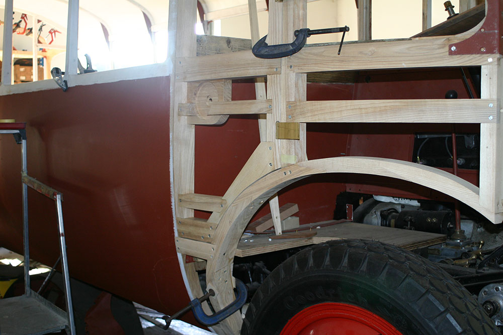 Full15 - 1929 Leyland Lion cab and wheel arch crafted timber