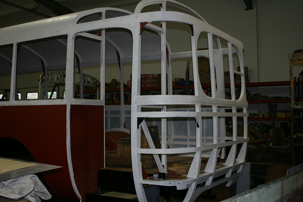 Full16 - 1929 Leyland Lion completed rear end framework in wood primer