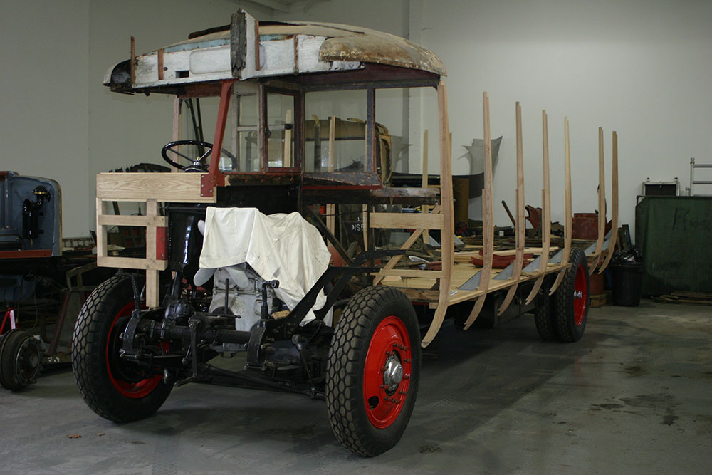 Full6 - 1929 Leyland Lion new framework integrating with existing woodwork