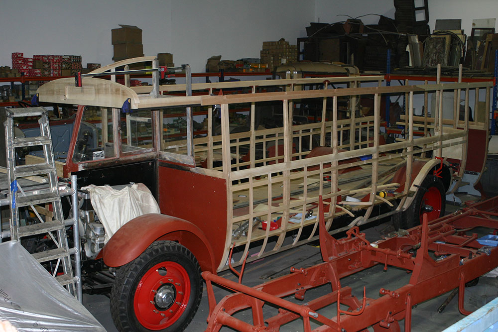 Full9 - 1929 Leyland Lion cant rails being fitted